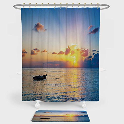iPrint Landscape Shower Curtain And Floor Mat Combination Set Sun Rising over Ocean on Maldives Seascape Photo Majestic Morning Scenery For decoration and daily use Blue Coral Yellow ()