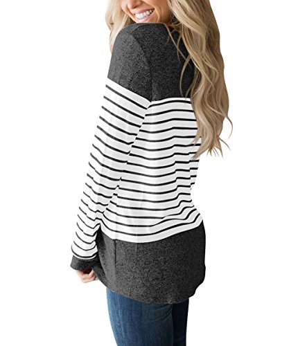 Vemvan Womens Long Sleeve and Short Sleeve Round Neck T Shirts Color Block Striped Casual Blouses Tops by Vemvan (Image #1)