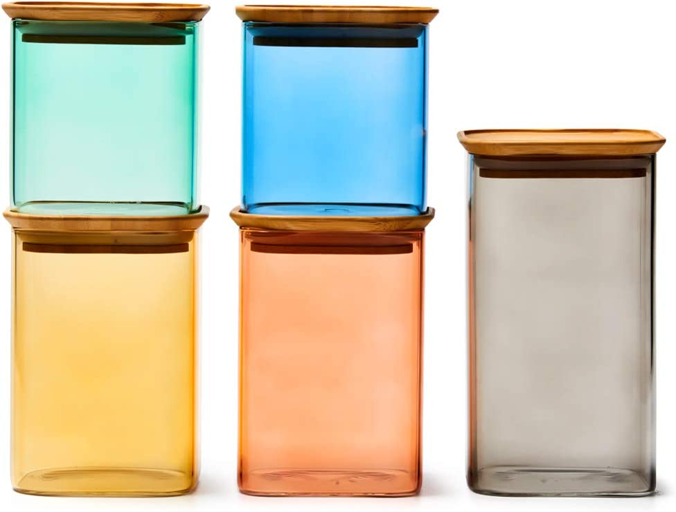 EZOWare 5 Piece Colorful Stackable Glass Jar Set, Square Air Tight Kitchen Food Storage Canister with Lid for Candy, Cookie, Rice, Sugar, Flour, Pasta, Nuts - 24oz / 34oz / 44oz