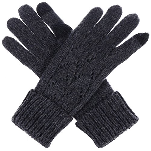 Byos Women Winter Wool Blend Cable   Leafy Pattern Texting Knit Gloves W  Two Fingertips Conductive Tech For All Touch Screen Devices Smartphone   Tablet  Dk Gray Leafy