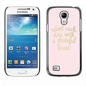 Oro rosa texto Corazón motivación texto - Metal de aluminio y de plástico duro Caja del teléfono - Negro - Samsung Galaxy S4 Mini i9190 (NOT S4)
