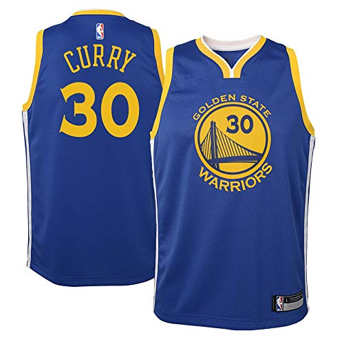(Youth Golden State Warriors #30 Stephen Curry Blue Swingman Jersey M)