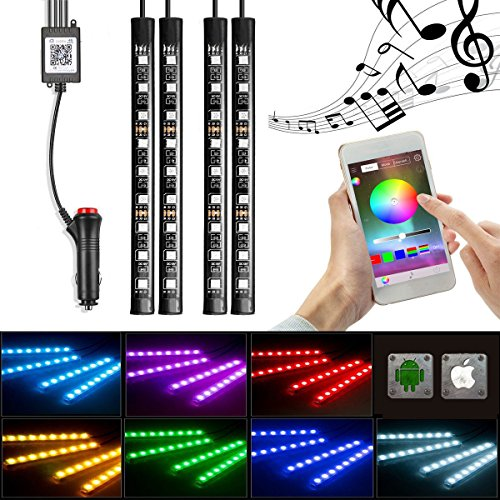 INORISING Car LED Strip Light, car interior lights 4 Pieces 36LEDS DC 12V Multicolor Car Interior Music Light LED Underdash Lighting Kit with Sound Active Function (APP control)