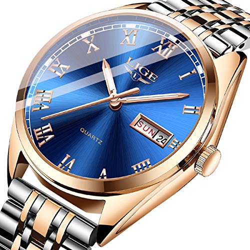 Watches Mens Fashion Business Steel Waterproof Analog Quartz Luxury Brand LIGE Sport Chronograph Wristwatch Gents Dress Date Blue Gold Silver Clock