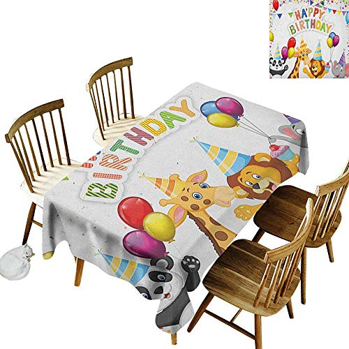Cranekey Banquet Rectangular Tablecloth W50 x L80 Kids Birthday Cartoon Style Safari Jungle Animals at a Party with Flags and Balloons Image Multicolor Great for Party & More