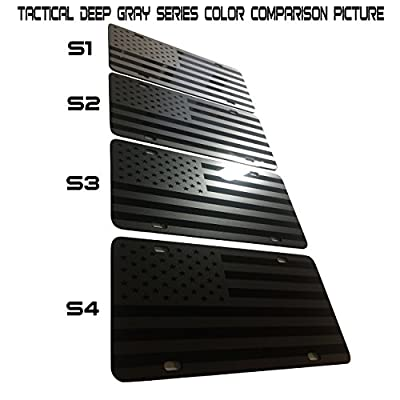 CustoMonsterDesigns US American Flag Heavy Duty Aluminum License Plate Stealth Tactical DEEP Gray(Metallic Silver) on Black S1: Automotive