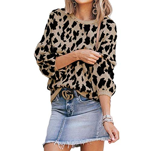 MOLFROA Womens Winter Long Sleeve Leopard Print Knits Loose Crew Neck Sweaters (M,Khaki)