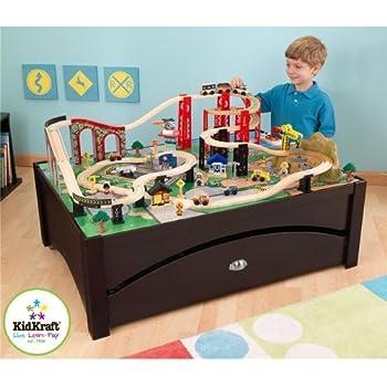 Delightful KidKraft New Metro Wooden Play Train Table U0026 Set   17952