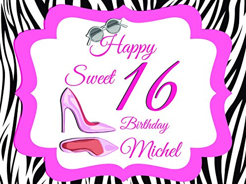 Personalize Girls Sweet 16 Birthday Teenager Dress Shoes Shades Party Poster - sizes 36x24, 48x24, 48x36; Personalized Female Sweet sixteen Home Decorations, Handmade Party Supply