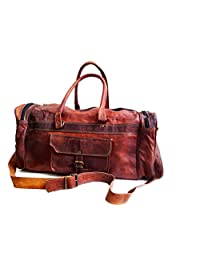 20 Mens Genuine Leather Duffle Gym Large Travel Weekend Sports Luggage Bag