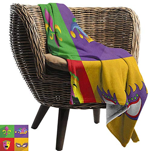 Flannel Throw Blanket,Mardi Gras,Colorful Frames with Mardi Gras Icons Masks Harlequin Hat and Fleur De Lis Print, Multicolor,for Bed & Couch Sofa Easy Care 60