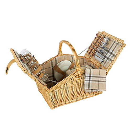 Lined Wicker Storage Basket With Picnic Supplies - Large 4 Person Lined Wicker Picnic Supply Set With Lid for Outdoor Picnics, Beach Trips and More - Beige