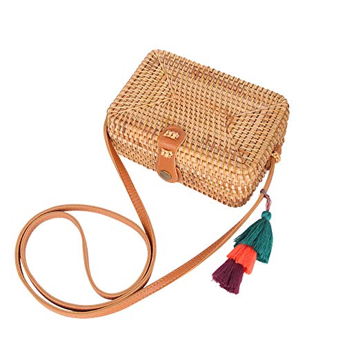 Handwoven Rattan Bag Straw Bag for Women Boho Wicker Purse Straw Crossbody Bag