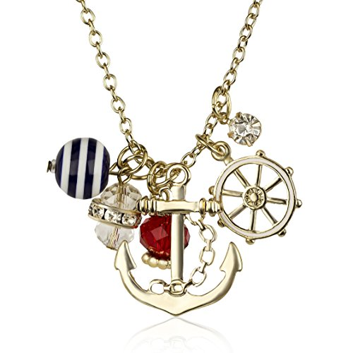 Gold Tone Accessories (Lux Accessories Goldtone Nautical Cluster Anchor Ship Wheel Charm Necklace)