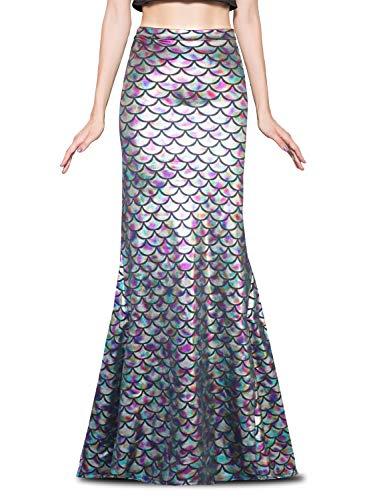 Jescakoo Women's Funcy Fish Scale Mermaid Maxi Skirts