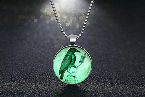 AnaZoz Bijoux de mode collier alliage Vert fluo Pendentif Collier Rond Woodpecker Animal Pendentif pour femme Vert Fluorescence
