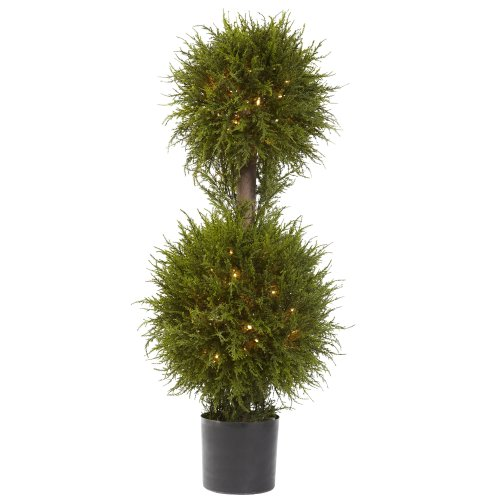 Nearly Natural 5916 Cedar Double Ball Topiary with Lights, 40-Inch, Green