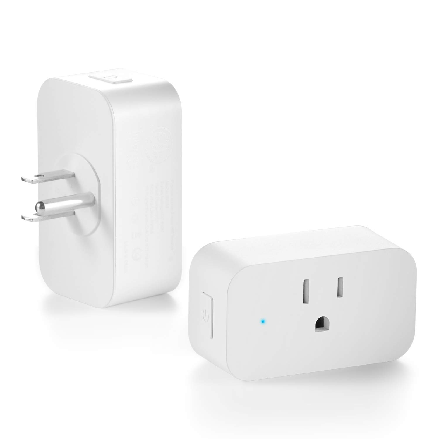 WiFi Smart Plug, Mini Smart Socket Outlet Work with Amazon Alexa Echo/Google Assistant and IFTTT, No Hub Required, Remote Control Your Devices from Anywhere (2 Pack)
