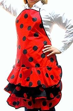 La Senorita Tablier Flamenco rouge avec pois noir Adulte