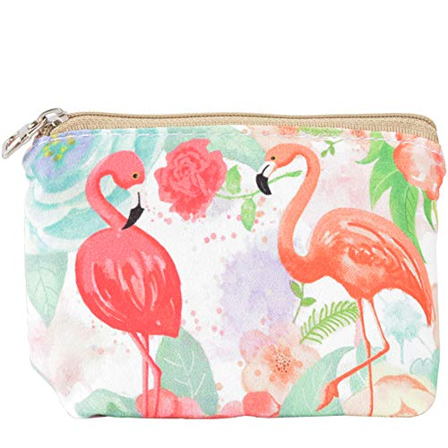 (Women and Girls Cute Fashion Coin Purse Wallet Bag Change Pouch Key Holder (Two Flamingos Pattern))