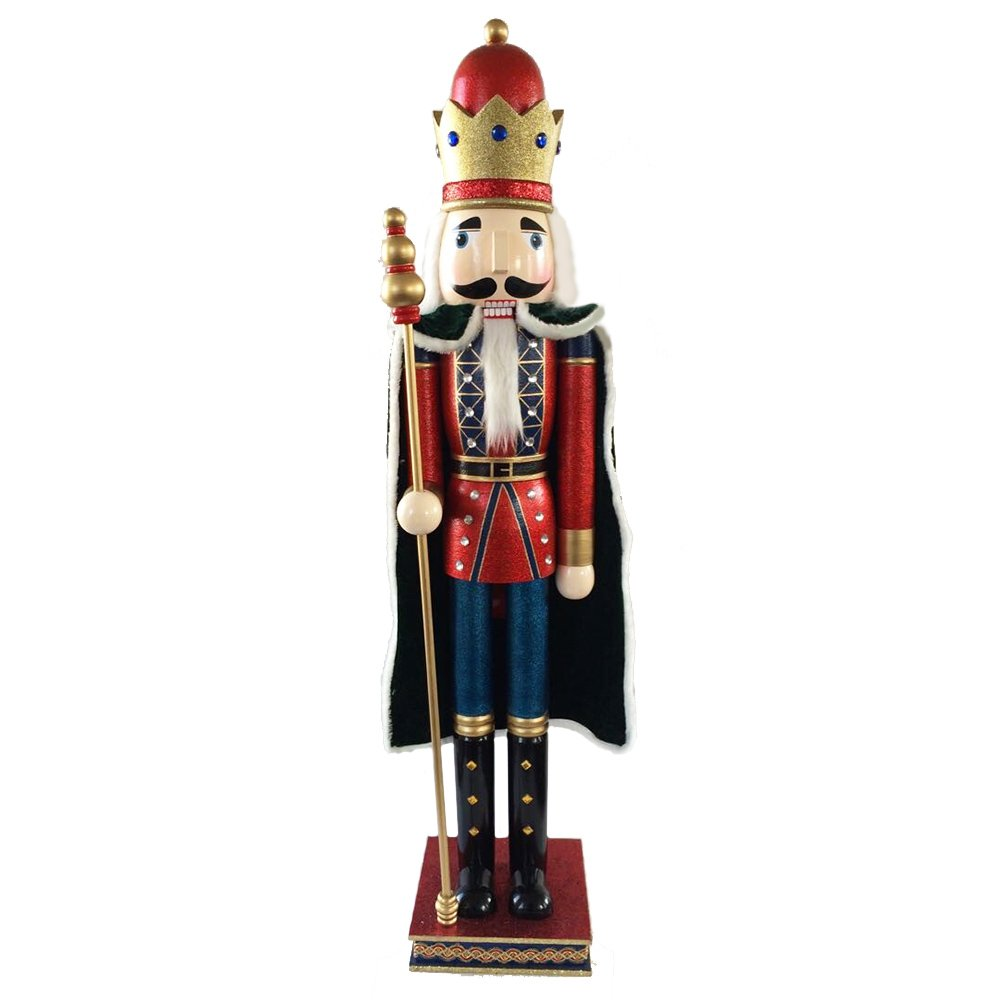 Christmas Nutcracker Figure King With Cape Red Blue With Glitter And Sparkle Rhinestones 42 Inch Exclusive