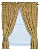 Charlestown Check 68-Inch by 72-Inch Tailored Panel Pair Curtains with Tiebacks, Brown For Sale