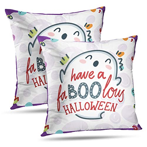 Hdmly Boo Quote Decorative Throw Pillow Cover Cushion Covers with Cute Smiling Ghost Character Halloween Art Set of 2 Throw Square Pillowcase for Home Decor Couch Sofa 18