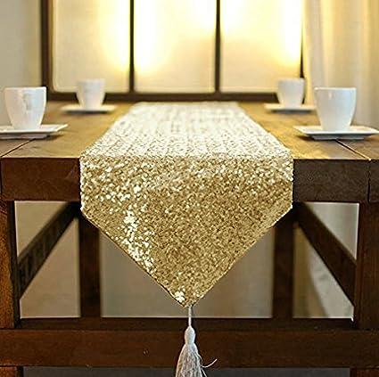 Camino de mesa ShinyBeauty dorado con lentejuelas doradas, camino ...