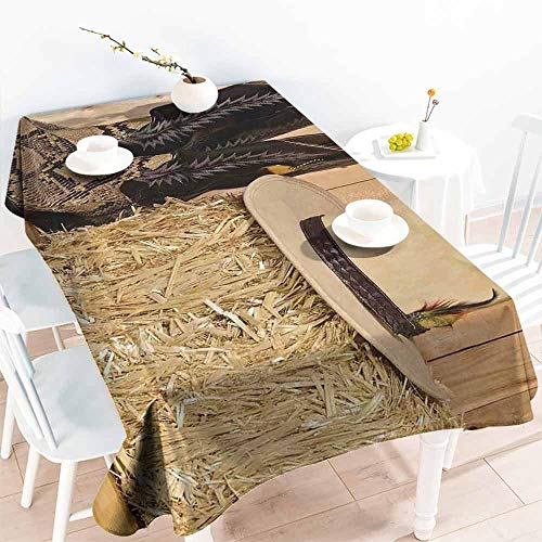 HCCJLCKS Restaurant Tablecloth Western Decor Snake Skin Cowboy Boots Timber Planks in Barn with Hay Old West Austin Texas Picnic W70 xL102 Cream Brown]()