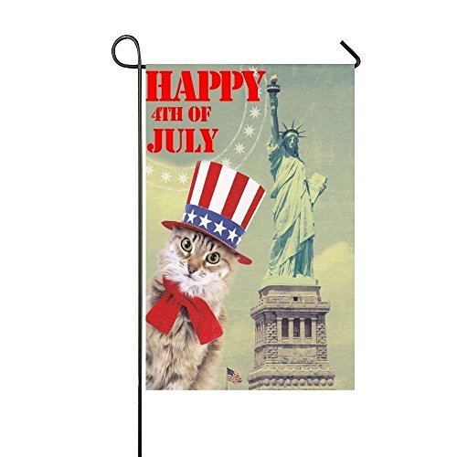 YQZsay Happy 4th Of July America Hat Cat Statue Of Liberty 12 x 18 inch Garden Flag - Double Sided Holiday Decorative Outdoor House Flag