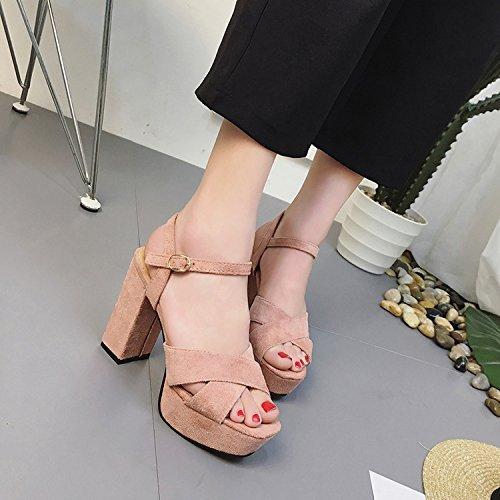 paisse 39 Chaussures Tide Taiwan Yalanshop Vido Talon Mince Poisson Talons Sandales Rose Femme Haut Impermables Noir qUqABwzxZ