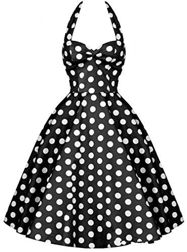 不和代表団ゆりかご【ノーブランド品】ワンピース シック水玉柄 きれいめ 着痩せ ノースリーブ ホルターネック Aラインのスカート ドレス ワンピース 結婚式 パーティー サイズS~XL レッド ブルー ブラック