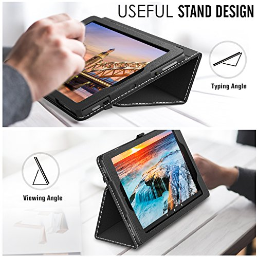 MoKo Case for All-New Amazon Fire HD 10 Tablet (7th Generation and 9th Generation, 2017 and 2019 Release) - Slim Folding Stand Cover with Auto Wake/Sleep for 10.1 Inch Tablet, Black