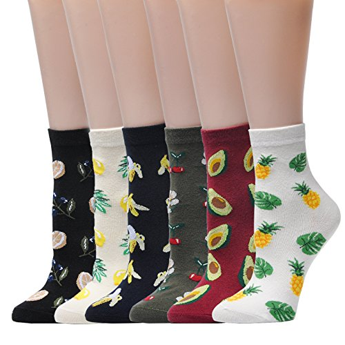 (Jormatt 6 Pairs Women Fruits Crew Socks With Banana Pineapple Cherry Lemon Avocado Pattern Design Ankle Socks Warm,Women Shoes Size)