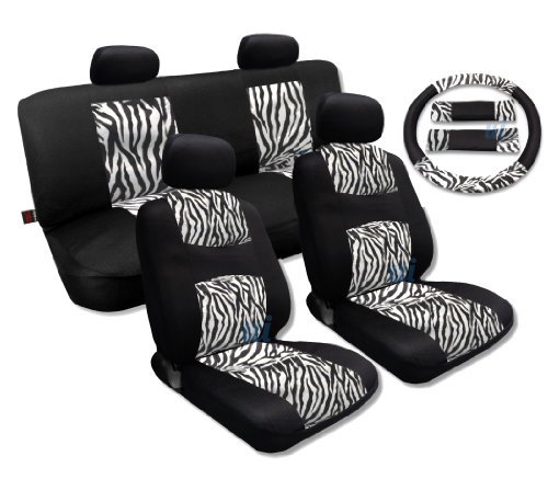 White Zebra Accent Fur Black Mesh Cool Breeze Animal Print Seat Cover Set For Honda Civic (Zebra Mesh)
