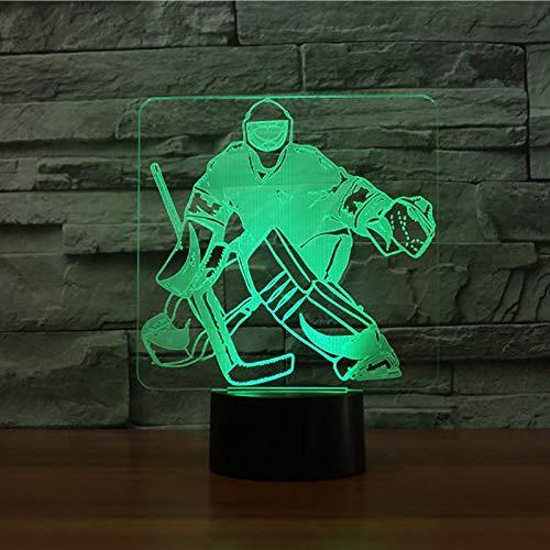 3D Eishockey Torhüter Modellierung Tischlampe 7 Farben Ändern Led Nachtlicht Usb Schlafzimmer Schlaf Beleuchtung Sport Fans Geschenke Wohnkultur YYPYMC