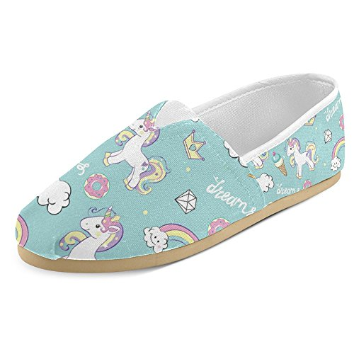 InterestPrint Women's Loafers Classic Casual Canvas Slip On Fashion Shoes Sneakers Flats Size 9 Beautiful Cute Unicorns with Diamond Ice Cream, and Clouds Ice Cream Shoes Women