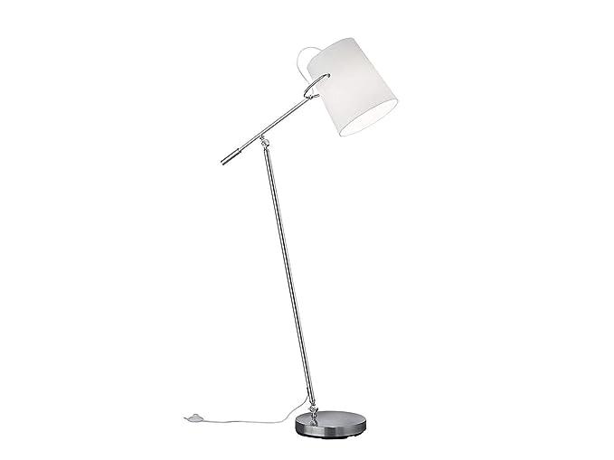 Lámpara de pie de níquel mate con pantalla giratoria de plástico ...