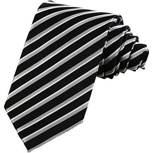 - KissTies Mens Striped Necktie Black Silver Gray Tie + Gift Box