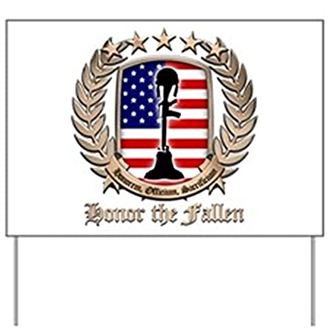 CafePress - Honor The Fallen ??? Crest - Yard Sign, Vinyl Lawn Sign, Political Election Sign (Fallen Soldiers Cross)