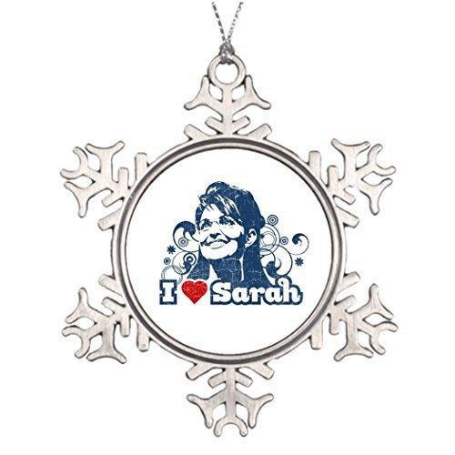 Metal Ornaments Personalised Christmas Tree Decoration I heart Sarah Palin Snowflake Ornaments For Christmas Tree -