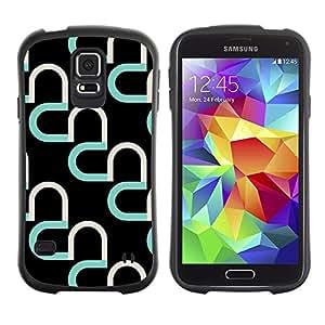 Suave TPU Caso Carcasa de Caucho Funda para Samsung Galaxy S5 SM-G900 / heart teal black pattern abstract art / STRONG