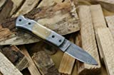 Cheap Knife King Custom Damascus Handmade Folding Knife. With Leather Sheath