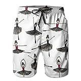 MBSP Art Ballet Men's Beach Shorts Light Weight Swim Shorts Casual Board Shorts