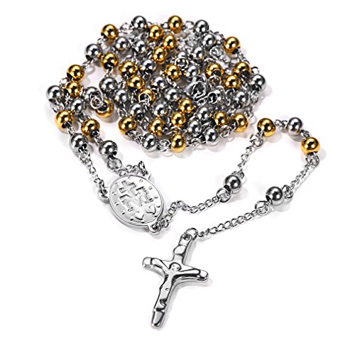 FaithHeart Christian Virgin Mary Miraculous Medal Rosary Bead Charms Stainless Steel Cross Long Chain Necklace (Gold) -