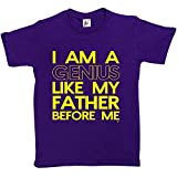 Fancy A Snuggle I Am A Genius Like My Father Before Me Funny Kids Boys / Girls T-Shirt Purple 12-14 Year Old