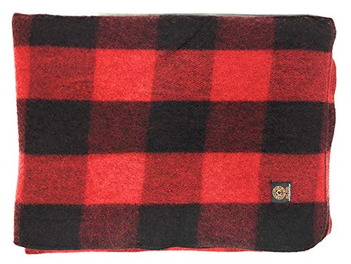 Arcturus Mt. Rainier Wool Blanket - Over 4 Pounds Warm, Heavy, Washable, Large   Great for Camping, Outdoors, Survival & Emergency Kits (Buffalo Check) (Best Camping At Mt Rainier)