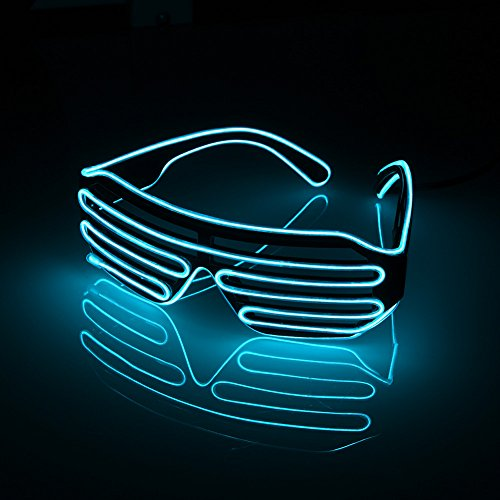 Efanr LED Glasses Light Up Illuminated Neon Electroluminescent EL Wire Glasses DJ Bright Blinking Flashing Glasses Toys For Halloween Party Christmas Concert Cosplay