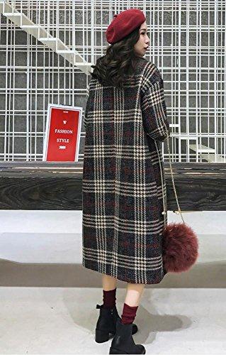 Casual xl Doppio Wine Donna M Donna Red Da Tartan Cappotto Capispalla awSgx