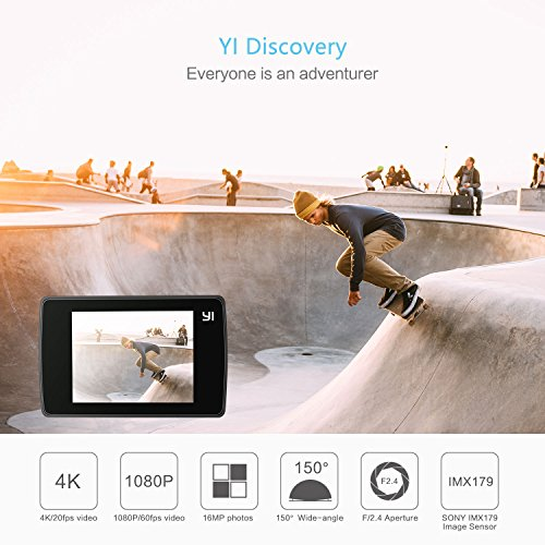 "511xDtkzAVL - YI Discovery Action Camera, 4K Sports Cam with 2.0"" Touchscreen, Built-in Wi-Fi, 150°Wide Angle, Sony Image Sensor for Underwater, Outdoor Activity"